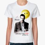 Стильная футболка с крылатой фразой.  Грегори с шаром-смайликом.