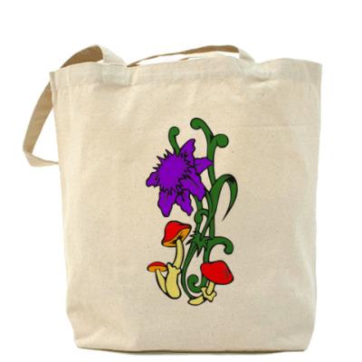 Холщовая сумка цветы грибы.