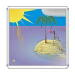 Магнит 6,5x6,5 см с авторским рисунком `` Островок `` - Робинзон на...
